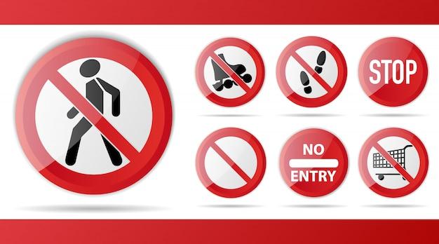 Zestaw czerwony znak zakazu