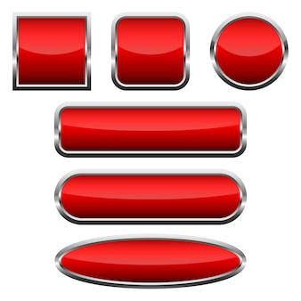 Zestaw czerwonych błyszczących przycisków. ilustracja.