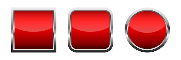 Zestaw czerwonych błyszczących przycisków. ilustracji wektorowych.