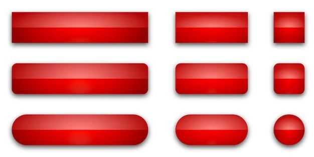 Zestaw czerwonych błyszczących przycisków internetowych. przyciski na białym tle