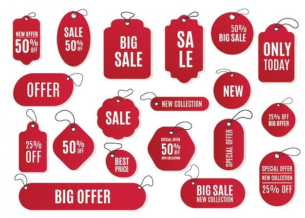 Zestaw czerwonych etykiet, metek na czarny piątek. sprzedaż na koniec roku.