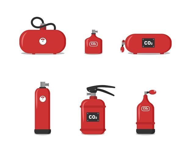 Zestaw czerwonych gaśnic, ikony - symbol bezpieczeństwa - sprzęt ochronny - znak awaryjny. gaśnica różnego rodzaju w celu zapewnienia bezpieczeństwa budynku, który chroniłby ludzi.