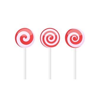 Zestaw czerwonych i białych cukierków lizaki z różnymi wzorami spiralnymi. ilustracja wektorowa na białym tle