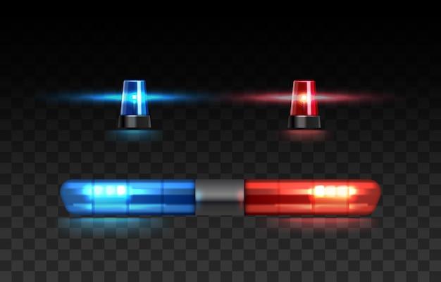 Zestaw czerwonych i niebieskich świateł na oświetlonym radiowozie