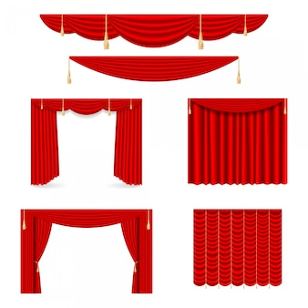 Zestaw czerwonych jedwabnych zasłon ze światłem i cieniami otwartych i zamkniętych.