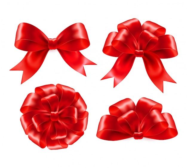 Zestaw czerwonych kokardek prezentowych ze wstążkami ..
