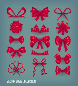 Zestaw czerwonych kokardek stylu kreskówki i zawiązanych wstążek. kolekcja elementów dekoracyjnych