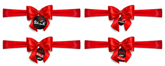 Zestaw czerwonych kokardek z poziomymi wstążkami, cieniami i sprzedażą etykiet i metek na białym tle
