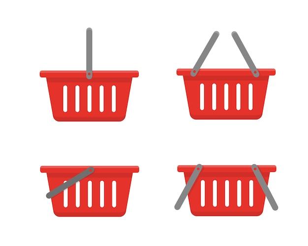 Zestaw czerwonych koszy na zakupy na białym tle.