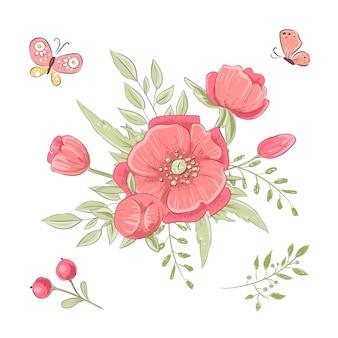 Zestaw czerwonych kwiatów i motyli. rysunek odręczny. ilustracji wektorowych