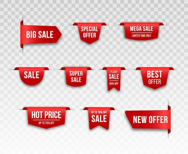 Zestaw czerwonych metek z ceną