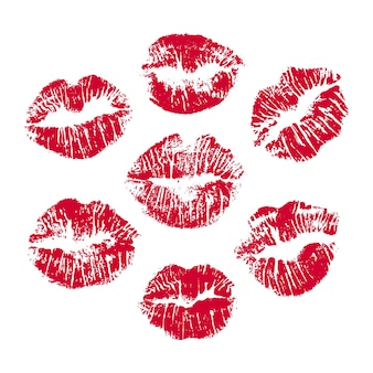 Zestaw czerwonych nadruków na ustach czerwony nadruk na ustach
