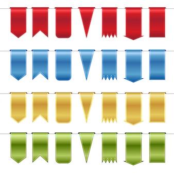 Zestaw czerwonych, niebieskich, złotych i zielonych błyszczących wstążek