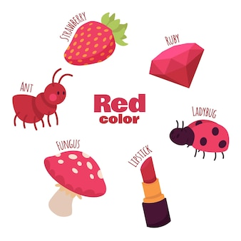 Zestaw czerwonych obiektów i słów słownictwa