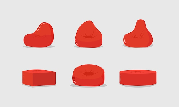 Zestaw czerwonych puf, miękkie meble, wygodne puszyste krzesło. czerwona poduszka w okrągłym kształcie, torba wypchana materiałem na podłodze, wnętrze domu.