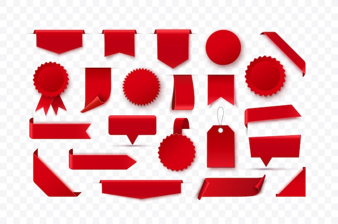 Zestaw czerwonych pustych wstążek oznacza odznaki i etykiety na białym tle