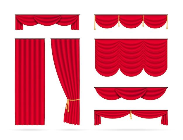 Zestaw czerwonych realistycznych zasłon. na białym tle