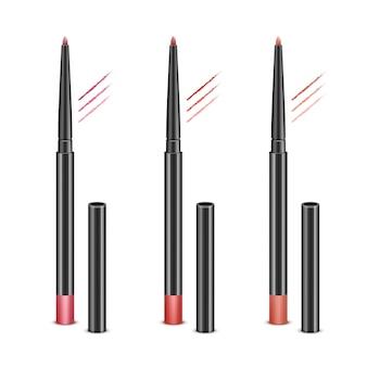 Zestaw czerwonych różowych kredek kosmetycznych do makijażu ust bez czapek i przykładowych pociągnięć na białym tle