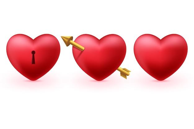 Zestaw czerwonych serc 3d na białym tle na białym tle