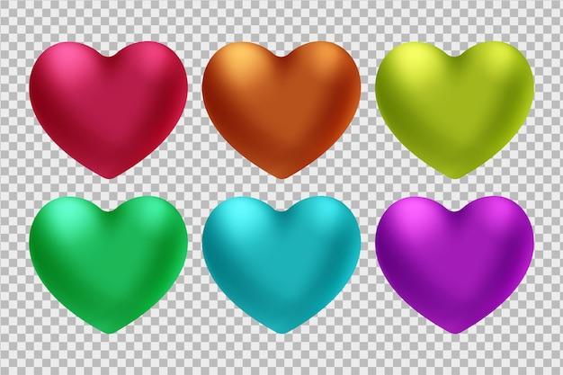 Zestaw czerwonych serc 3d na białym tle