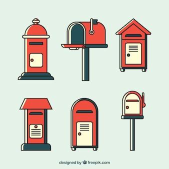 Zestaw czerwonych skrzynek pocztowych w płaskiej konstrukcji