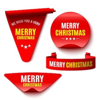 Zestaw czerwonych świąt. wstążki i naklejki. zwoje papieru.