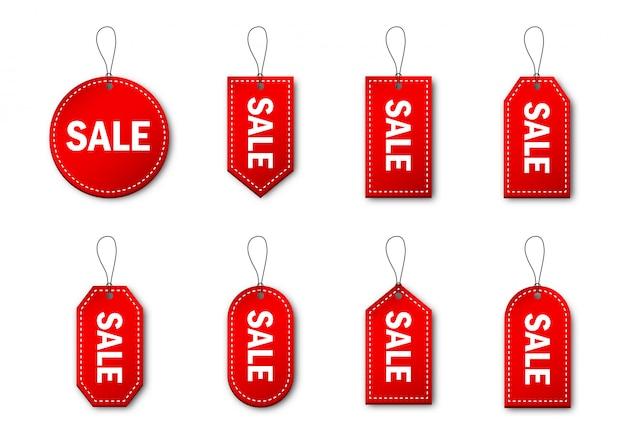 Zestaw czerwonych tagów sprzedaży i etykiet. czarny piątek. specjalna cena transparent na białym tle.