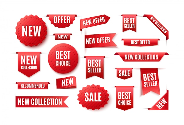 Zestaw czerwonych tasiemek, naszywek i banerów z napisem best choice, nowa oferta. ilustracja sprzedaży i cen.