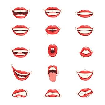 Zestaw czerwonych warg żeńskich o różnych wyrażeniach emocjonalnych.