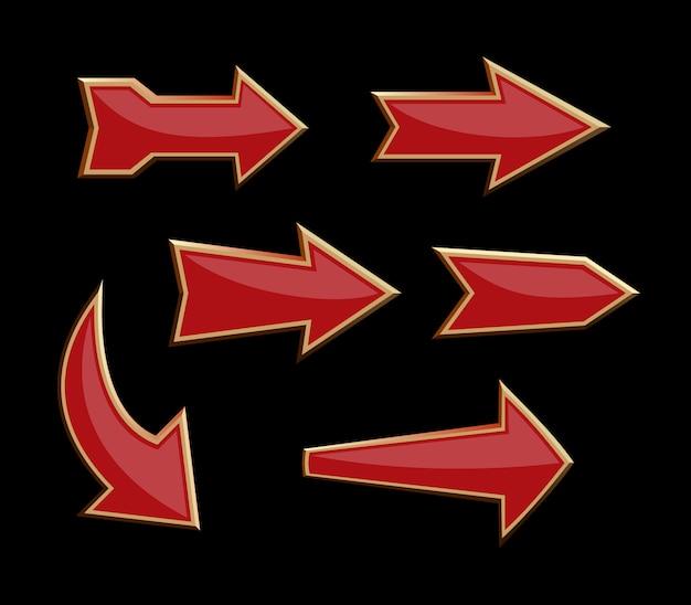 Zestaw czerwonych wolumetrycznych strzałek kierunkowych na czarnym tle. zestaw wskaźników strzałek. ilustracja