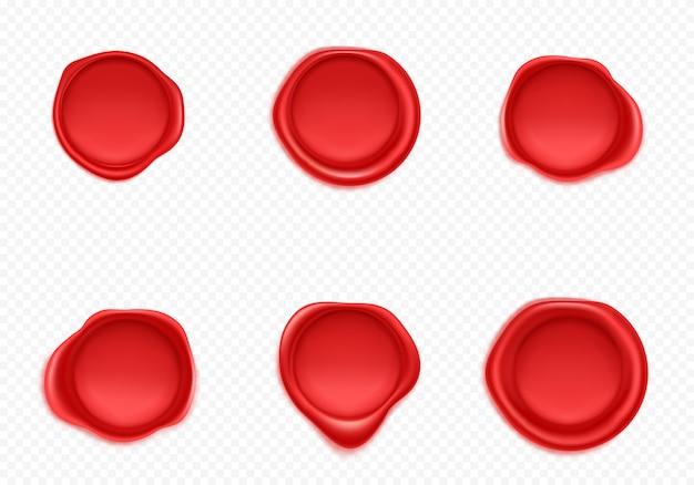 Zestaw czerwonych woskowych pieczęci do listów i kopert