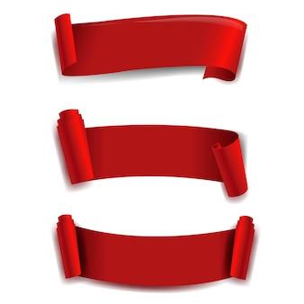 Zestaw czerwonych wstążek białe tło z siatki gradientu