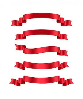 Zestaw czerwonych wstążek, elementy projektu na białym tle.