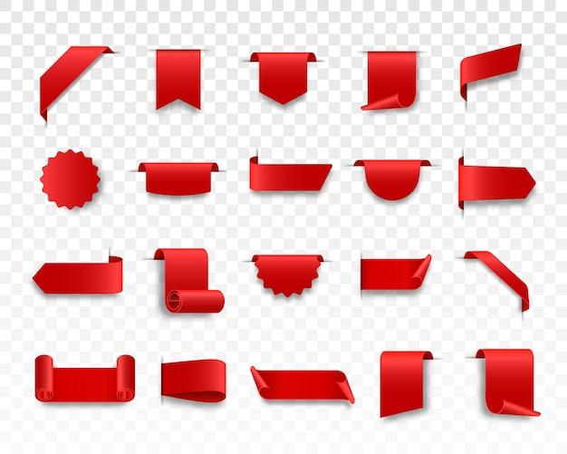 Zestaw czerwonych wstążek internetowych zwinięte wstążki do przewijania