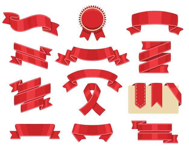 Zestaw czerwonych wstążek, na białym tle. kolekcja transparentu ozdobnej wstążki.