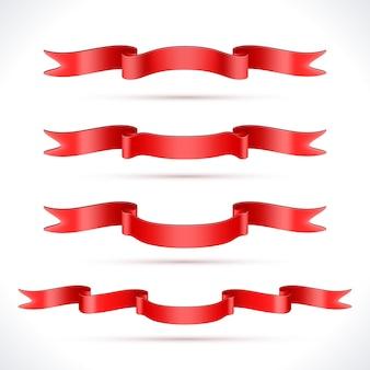 Zestaw czerwonych wstążek na białym tle