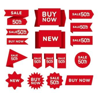 Zestaw czerwonych wstążek na zakupy, odznaki i banery z napisem wyprzedaż, kup teraz, nowy na czerwonym tle.
