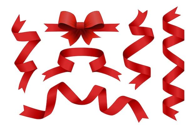 Zestaw czerwonych wstążek. wesołych świąt bożego narodzenia elementy