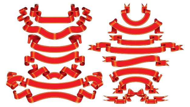 Zestaw czerwonych wstążek