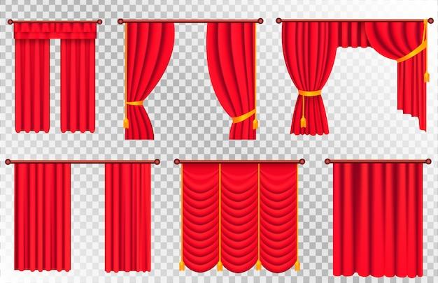 Zestaw czerwonych zasłon. ilustracja kurtyny teatralnej