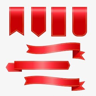 Zestaw czerwonymi wstążkami i tagami
