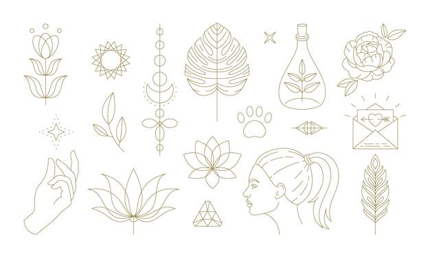 Zestaw części ciała ludzkiego i ozdoby z kwiatów