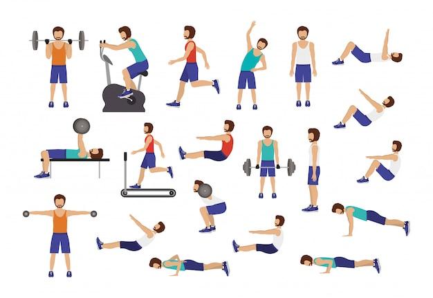 Zestaw człowiek robi ćwiczenia