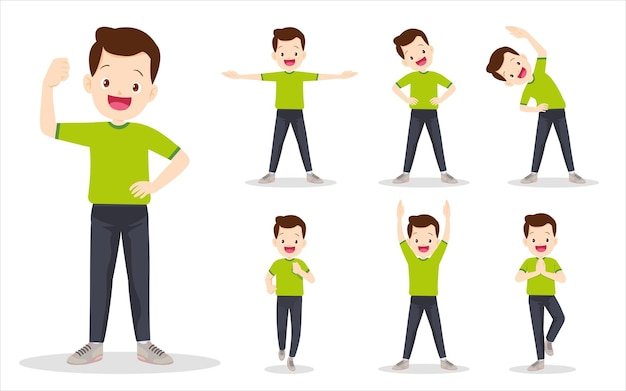 Zestaw człowieka na wykonywanie różnych działań. ojciec są różne działania, aby poruszać ciałem zdrowym