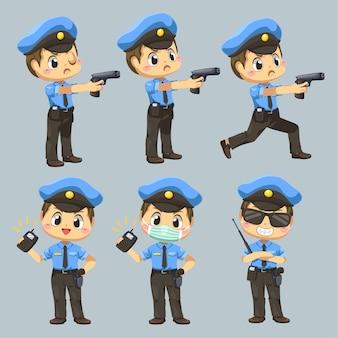 Zestaw człowieka w mundurze policyjnym z różnym działaniem w postaci z kreskówki, na białym tle płaska ilustracja