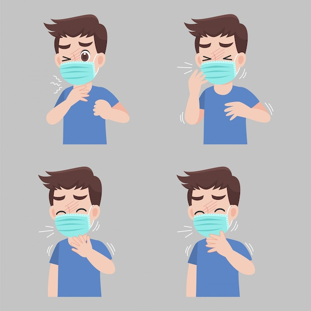 Zestaw człowieka z objawami różnych chorób - gorączka, kaszel, ból gardła. noszenie ochronnej maski medycznej zapobiegającej wirusowi