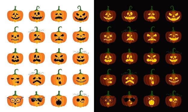 Zestaw czterdziestu dyń na halloween z różnymi twarzami