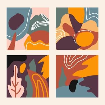 Zestaw czterech abstrakcyjnych banerów w kolorze vintage, idealnych do wydruków tekstylnych i tła