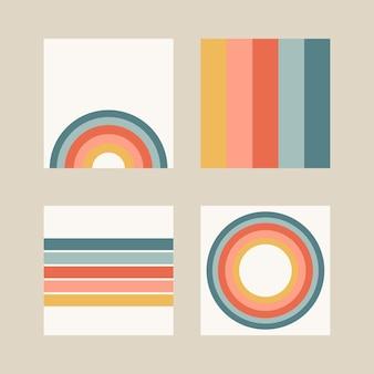 Zestaw czterech abstrakcyjnych środowisk, wzorów. plakaty boho. współczesne nowoczesne modne ilustracje wektorowe