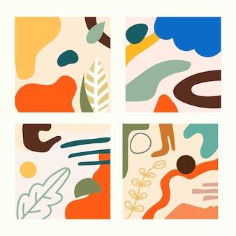 Zestaw czterech abstrakcyjnych, współczesnych banerów ramowych, idealnych do nadruków tekstylnych i tła